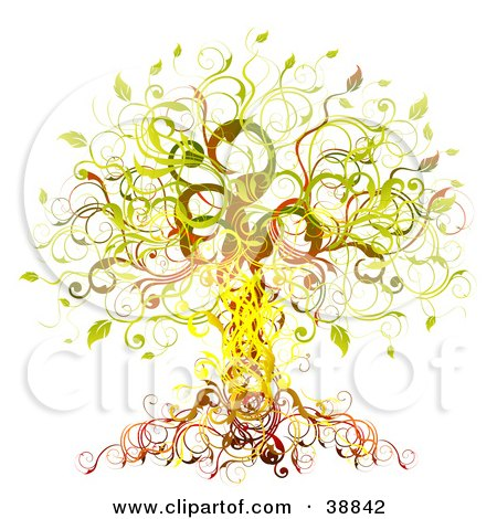Clipart Illustration of an Elegant Yellow, Green, Orange And Red Vine Tree by OnFocusMedia