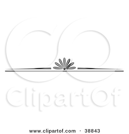 Clipart Illustration of a Black And White Website Header With A Floral Center by Andy Nortnik