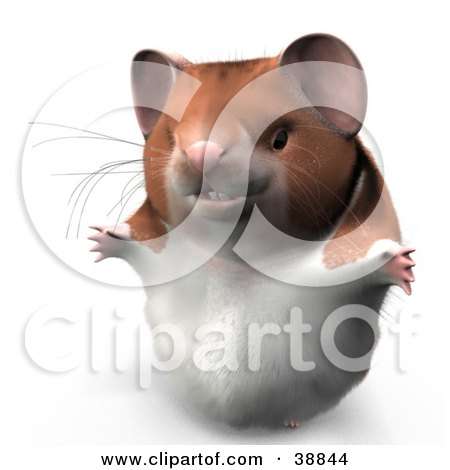 Clipart Illustration of Hammy The Productive Hamster Holding His Arms Open by Leo Blanchette