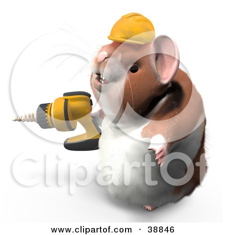 Clipart Illustration of Hammy The Productive Hamster Wearing A Hardhat And Operating A Drill by Leo Blanchette