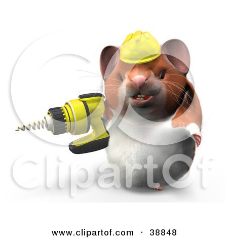 Clipart Illustration of a Construction Worker Hamster Using A Power Drill by Leo Blanchette