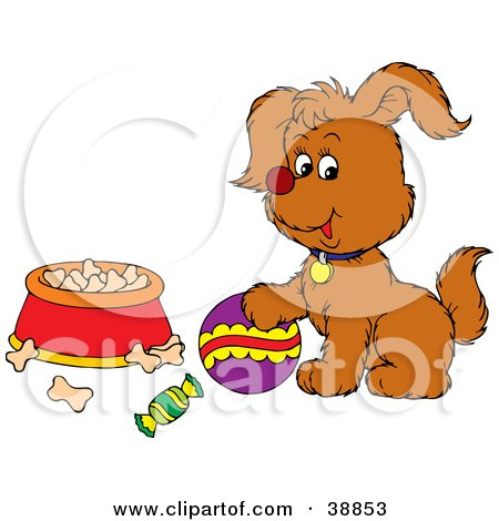 Clipart Illustration of a Playful Puppy With A Ball Near A Bowl Of Dog Food by Alex Bannykh
