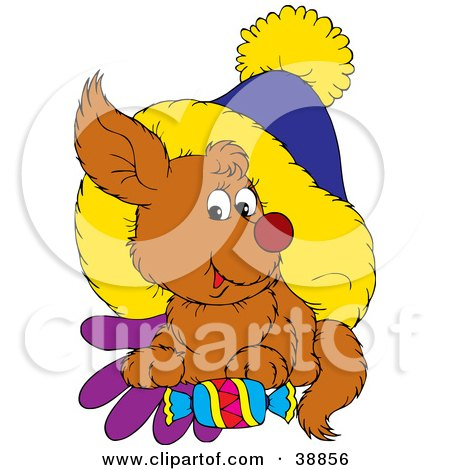 Clipart Illustration of a Dog Resting On Mittens Under A Hat With A Piece Of Candy by Alex Bannykh