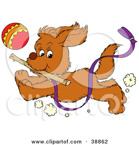 Clipart Illustration of a Happy Puppy Running With A Purple Leash Attached, Chasing A Ball And Fetching A Stick by Alex Bannykh