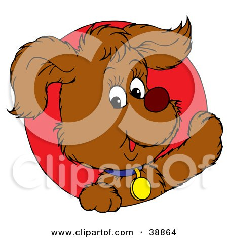Clipart Illustration of a Friendly Brown Puppy Dog Wearing A Blue Collar, Peeking Out Through A Red Circle by Alex Bannykh