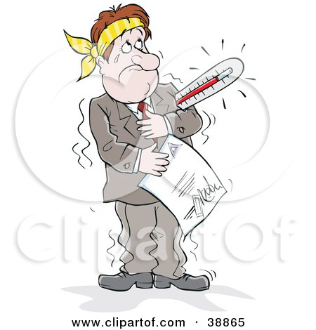 Determined Sick Businessman With A Thermometer Under His Arm, Holding A Report Posters, Art Prints