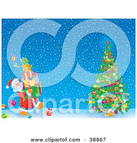 Clipart Illustration of Father Christmas Carrying Gifts To A Christmas Tree On A Snowy Night by Alex Bannykh