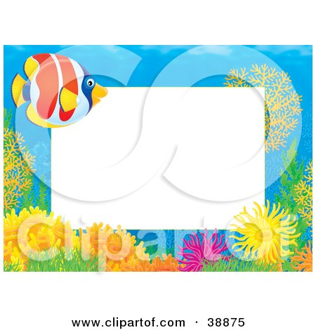 Clipart Illustration of an Underwater Stationery Border Of Anemones, Corals And Fish In The Ocean by Alex Bannykh