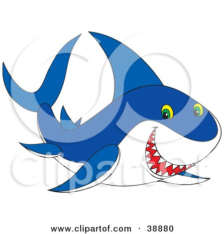 Clipart Illustration of a Grinning Blue And White Shark by Alex Bannykh