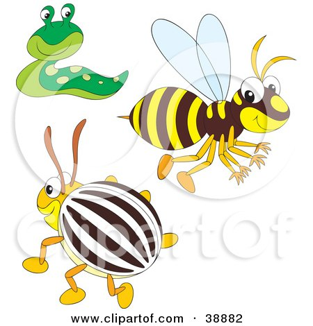 Clipart Illustration of a Friendly Green Slug, Happy Bee And Beetle by Alex Bannykh