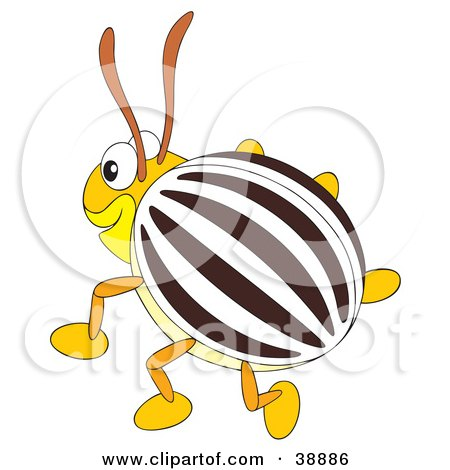Clipart Illustration of a Happy Brown, White And Yellow Beetle by Alex Bannykh