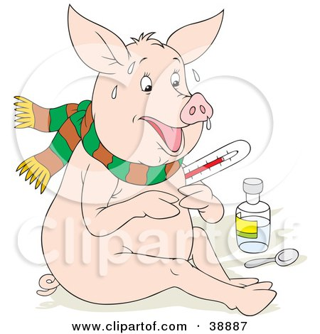 Clipart Illustration of a Sick Pig With The Flu, Sweating, Holding A Thermometer And Sitting With Medicine by Alex Bannykh