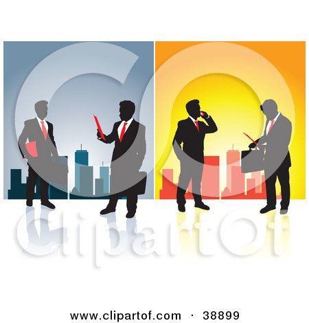 Clipart Illustration of Silhouetted Businessmen In Front Of A City Skyline On Blue And Orange by Paulo Resende