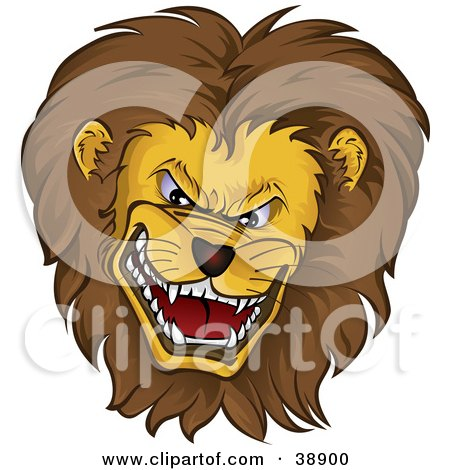 Clipart Illustration of a Mean Growling Lion Head With A Thick Mane by Paulo Resende