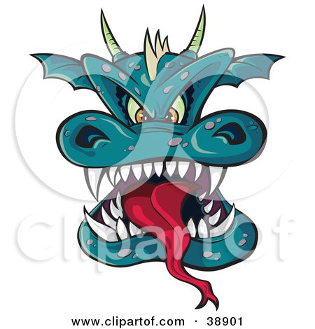 Clipart Illustration of a Horned Green Dragon Head With A Long Tongue And Sharp Teeth by Paulo Resende