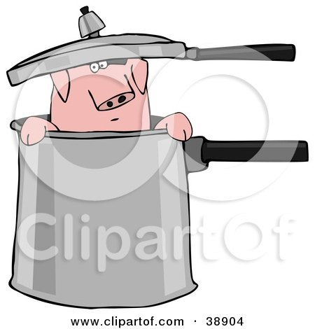 Clipart Illustration of a Curious Pig Peeking Out Of A Pot by djart