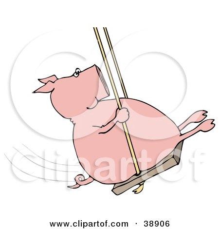 Clipart Illustration of a Playful Pig Swinging by djart