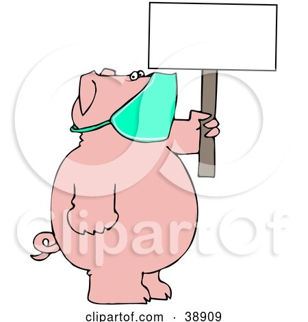 Clipart Illustration of a Pig Wearing A Mask And Holding Up A Blank Sign, Avoiding The Swine Flu by djart