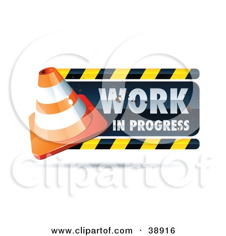 Clipart Illustration of a Work In Progress Sign With A Construction Cone by beboy