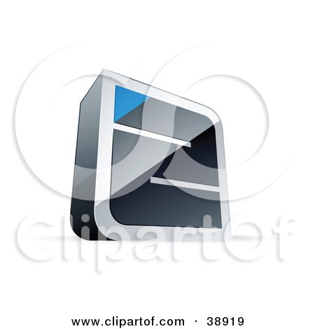 Clipart Illustration of a Pre-Made Logo Of A Chrome Maze With A Blue Triangle At The End by beboy