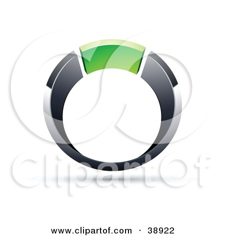 Clipart Illustration of a Pre-Made Logo Of A Chrome And Green Ring by beboy