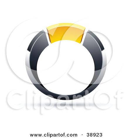 Clipart Illustration of a Pre-Made Logo Of A Chrome And Yellow Ring by beboy