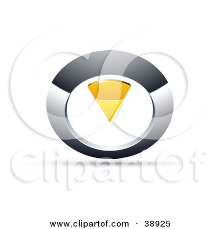 Clipart Illustration of a Pre-Made Logo Of A Chrome And Yellow Circular Knob by beboy