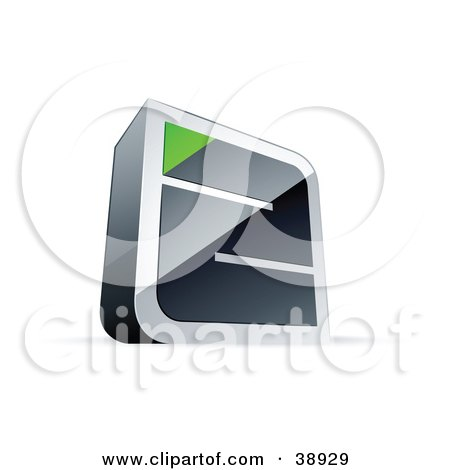 Clipart Illustration of a Pre-Made Logo Of A Chrome Maze With A Green Triangle At The End by beboy
