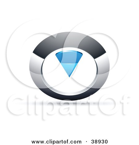 Clipart Illustration of a Pre-Made Logo Of A Chrome And Blue Circular Knob by beboy