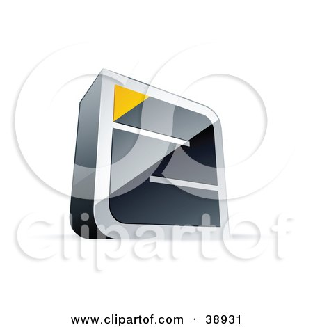 Clipart Illustration of a Pre-Made Logo Of A Chrome Maze With A Yellow Triangle At The End by beboy