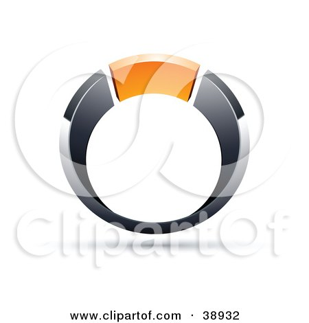 Clipart Illustration of a Pre-Made Logo Of A Chrome And Orange Ring by beboy