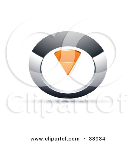 Clipart Illustration of a Pre-Made Logo Of A Chrome And Orange Circular Knob by beboy