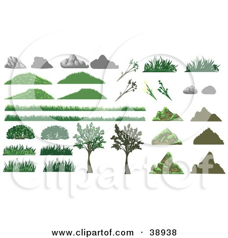 Clipart Illustration of Boulders, Rocks, Grass, Plants And Trees by Tonis Pan