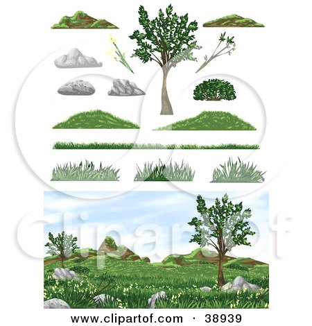 Clipart Illustration of a Natural Landscape With Burms, Grass And Trees And Design Elements by Tonis Pan
