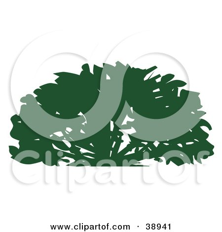 Clipart Illustration of a Lush Green Silhouetted Shrub by Tonis Pan