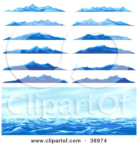 Clipart Illustration of a Seascape Scene And Twelve Different Blue Ocean Waves Or Mountains by Tonis Pan