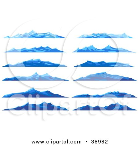 Clipart illustration of rough blue waves on the surface of for Blue ridge mountain tattoo