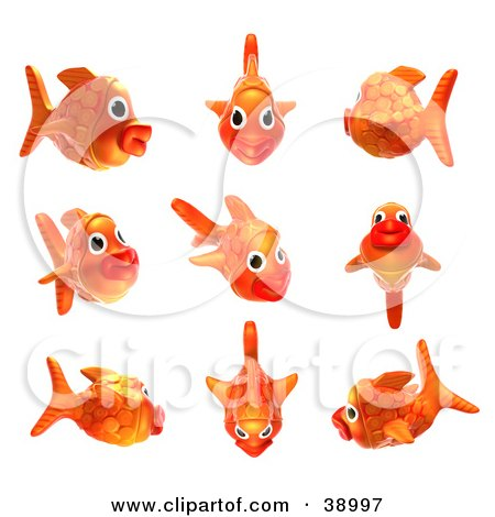 Clipart Illustration of a 3d Goldfish Shown In Nine Different Poses by Tonis Pan