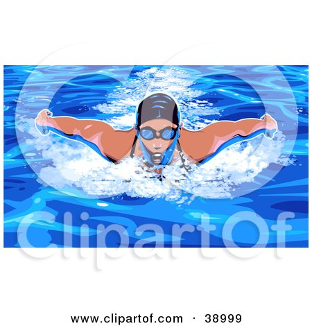 Clipart Illustration of a Woman In Goggles And A Swim Cat, Doing The Butterfly While Swimming by Tonis Pan