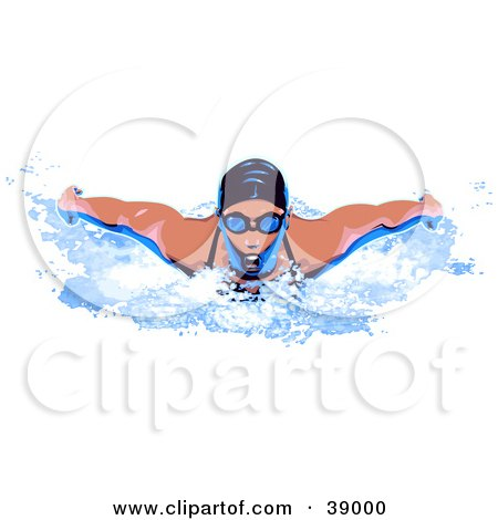 Clipart Illustration of a Professional Female Swimmer Wearing A Swim Cap And Goggles by Tonis Pan