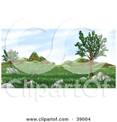 Clipart Illustration of a Grassy Landscape With Trees, Plants, Hills And Boulders by Tonis Pan