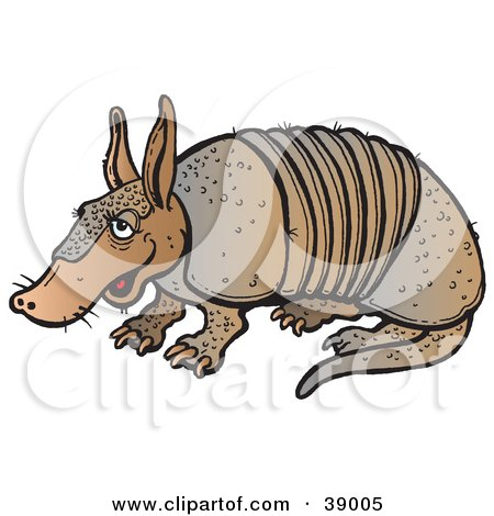 Clipart Illustration of a Lazy Brown Armadillo Sitting by Snowy