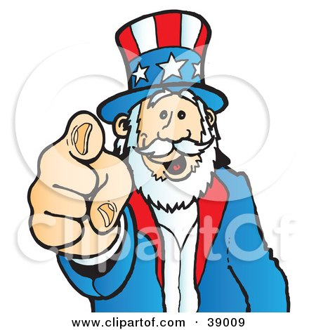 Clipart Illustration of Uncle Sam Grinning And Pointing Outwards by Snowy