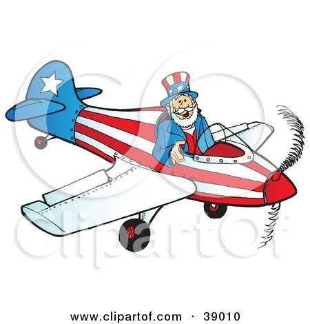 Clipart Illustration of Uncle Sam Flying A Patriotic Airplane by Snowy