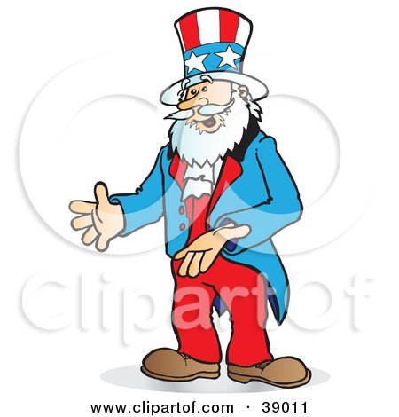 Clipart Illustration of Uncle Sam Gesturing With His Hands Or Presenting An Item by Snowy