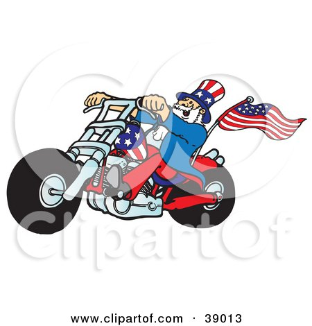 Uncle Sam Riding A Patriotic Chopper With A Flag On The Back Posters, Art Prints