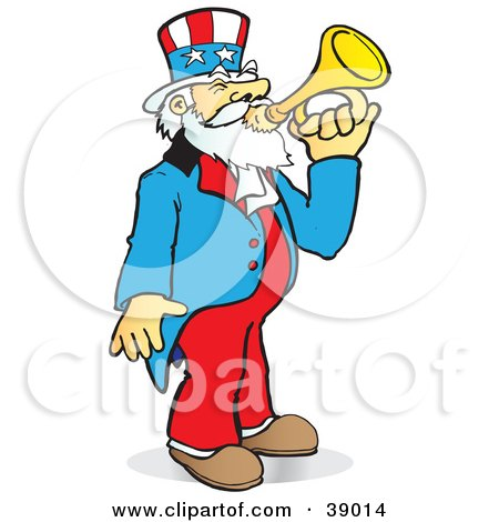 Clipart Illustration of Uncle Sam Playing A Bugle by Snowy