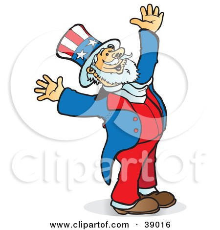 Clipart Illustration of Uncle Sam Smiling, Looking Upwards And Holding His Arms Up In Joy by Snowy