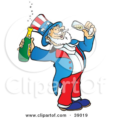 Clipart Illustration of Uncle Sam Drinking Bubbly Champagne by Snowy