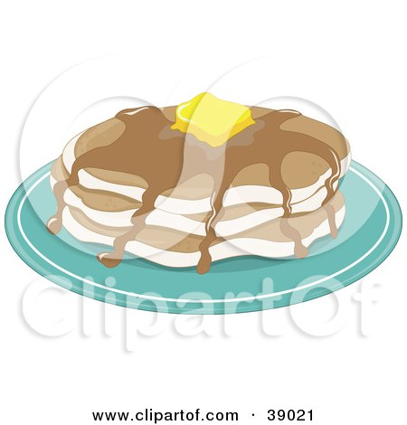 Clipart Illustration of a Stack Of Three Pancakes With Melting Butter And Maple Syrup by Maria Bell